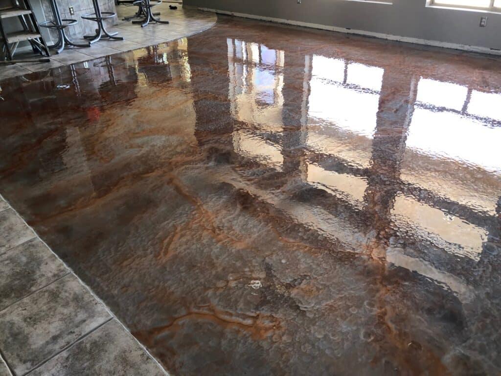 Two Tone Metallic Epoxy Floor Floors Arrowhead Deck And Pools Llc